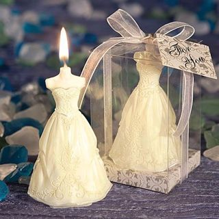 [GIN FOR FREE SHIPPING] Elegant Boxed Bridal Bride Shape Candle Wedding Decor Pure White