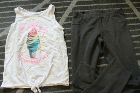 Girls Outfit Size 14 OshKosh B'Gosh Hello Sunshine Top & Carter's Kids Size 14 Stretch Pants