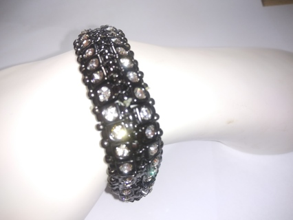 Chico Bracelet stretch bangle set with white clear crystal NWT