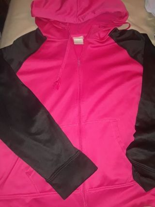 Hot pink black zipper hooded jacket lightweight XL 16 18 womens plus size danskin now free shipping