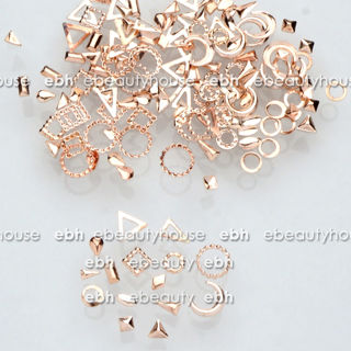 300 Pcs 15 Shapes Rose Gold Metal Nail Art Decorations Studs Nails Accessories