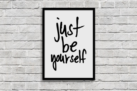 Just Be Yourself 8.5 x 11 quote lyric art, wall art, print dorm room decor