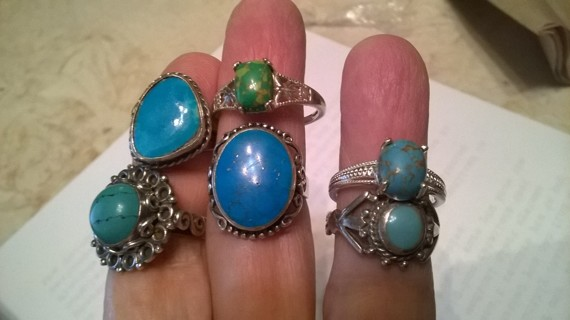 Turquoise Sterling Silver Rings Variety (choice of TWO)