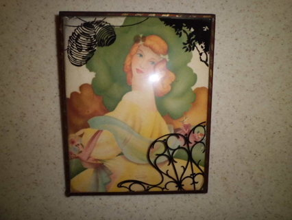 VINTAGE LITHO SIHLOUETTE UNDER GLASS XLNT COND FREE SHIPPING!