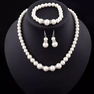 Jewelry Sets Simulated-Pearl Necklace Bracelet Earrings Women Jewelry Sets