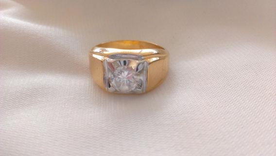 Attractive Free: Vintage Estate 14K HGE Gold Diamond? Men's Lind Ring Size 11  LD64