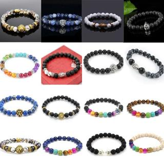 Men's Natural Gemstone Beads Bracelet Buddha Lion Charm Beaded Bracelet Jewelry