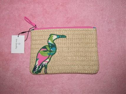 NWT Vera Bradley Seashore Zip Pouch Tropical Paradise Straw Beach Bag Egret Bird