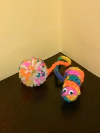 """Crochet New 3-Way Idea (B-7525)  FAN PULL / BOOKWORM / CAT TOY -- """"Bikini"""" & White"""