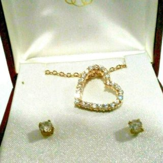 Cubic Zirconia Floating Heart Pendant Earring set NWT