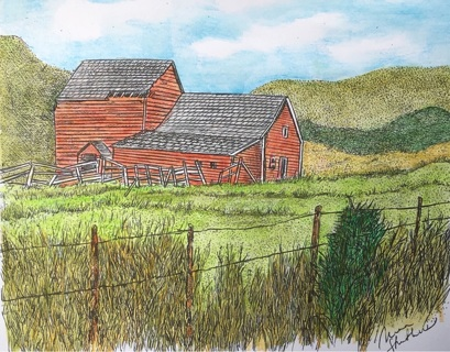 "COLORADO BARN - 5 x 7"" Art Card by artist Nina Struthers - GIN ONLY"
