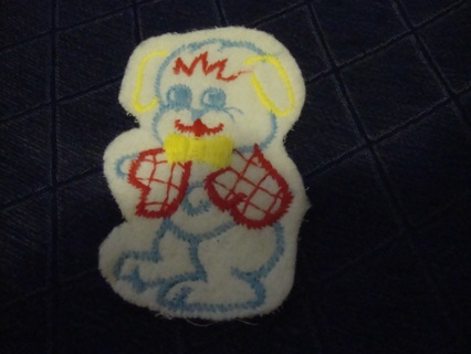Vintage Animal Blue Eyed Doggy Patch / Applique ~ Free Shipping