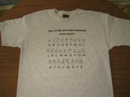 Sign language alphabet A-Z T -Shirt Size L- NEW!!