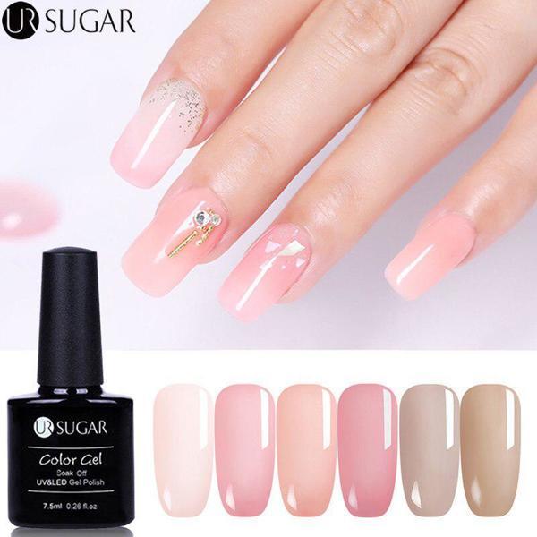 UR SUGAR 15ml Pink Grey Color Glitter UV Gel Polish Pure