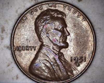 1951 d doubled die eye lincoln wheat penny
