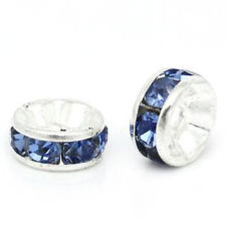 10 pcs-8mm silver plated blue rhinestone wheel beads