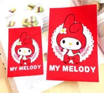 Red My Melody Kawaii Small Long Cello Bags set of 10