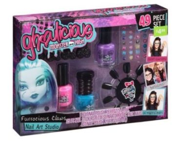 Girl's Ghoulicious Monster High Furrocious Claws 49 Piece Nail Art Studio Set New-GIN BONUS!