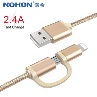 NOHON 2 in 1 Micro USB Lighting Charging Cable For iPhone 6S 7 8 Plus X XS MAX XR Fast Charger Cab