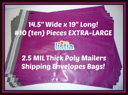 """10 pcs EXTRA-Large 14.5"""" x 19"""" Purple Poly Mailers Shipping Envelopes Mailer Bags 2.5 MIL Thick!"""