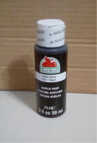 3 bottles - Apple Barrel Acrylic Paint Black, 2oz
