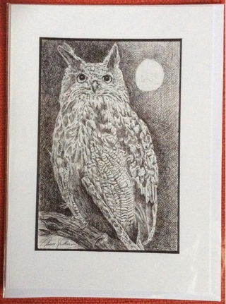 "MOONLIT OWL - 5 x 7"" art card by artist Nina Struthers - GIN ONLY"
