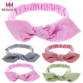 Top Sale Baby Cute Rabbit Ears Elastic Stripe Bowknot Headband Pink Navy Green Purple headbands wi