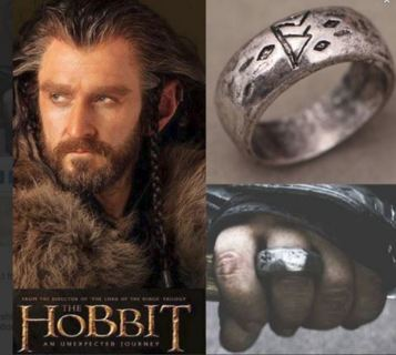 NEW MENS Hobbit Thorin Oakenshield King Durin's Folk SILVER RUNE RING Lord of Rings LAST ONE!