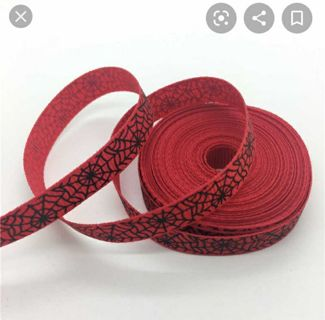 "Red spider web 3/8"" grosgrain ribbon 1 yard NEW"