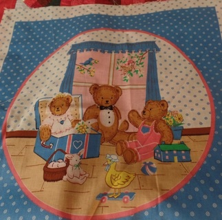 """Cute Bear Pillow Block to Quilt and Sew, 100% Cotton, 18"""" Square - APA-001"""