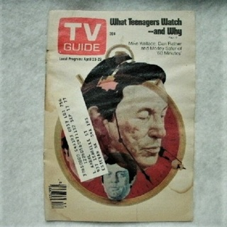 TV Guide From 1977 (Apr 23 - Apr 29) Mike Wallace, Dan Rather and Morley Safer of 60 Minutes