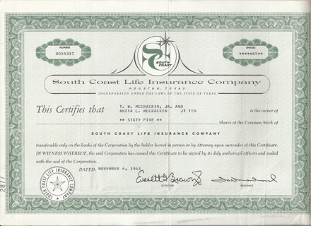 South Coast Life Insurance stock certificate 1963 Texas