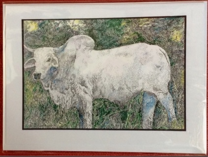 "BRAHMA BULL - 5 x 7"" art card by artist Nina Struthers - GIN ONLY"