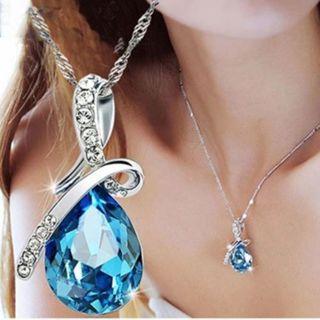 Silver Chain Crystal Rhinestone Pendant Necklace