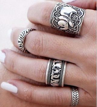4PCS Silver Punk Vintage Elephant Ring Women Retro Finger Rings Boho Style