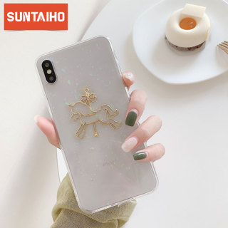 Cute gold carousel transparent Phone case For iphone 7 8 6 6S Plus X XS MAX XR Glitter soft TPU
