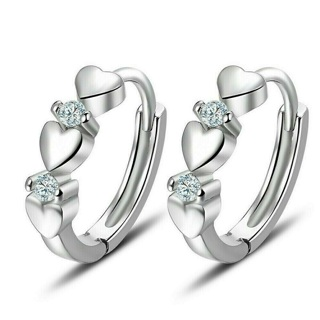 ✿Fast Delivery✿ Heart 925 Silver Hoop Earring x 1Pair