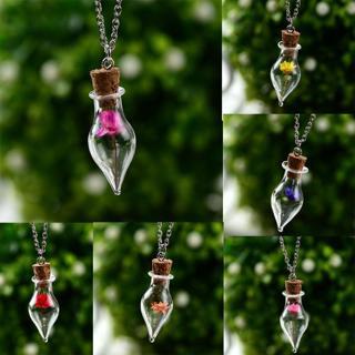 Charm Wish Bottle Glass Necklace Flower Pendant Long Sweater Chain Women Jewelry