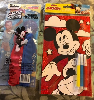 BNIP Disney's, Mickey Mouse Set: 2 Jumbo PunchBalls, 2 Foil Posters & 3 Markers