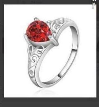 NEW Stunning Sterling Silver .925 Ruby Ring Cubic Zirconia FREE SHIPPING