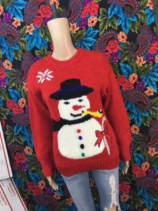 Xmas Christmas Sweater Knit Acrylic Snowman Smoking Pipe