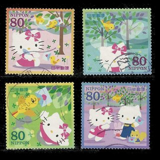 four hello kitty stamps from Japan