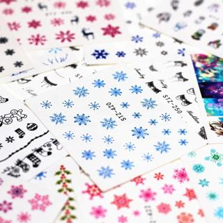 1pcs Smiling Face Snowflake Cartoon Nail Water Sticker Leaf Lace Design Slider Nail Art Decal Beau