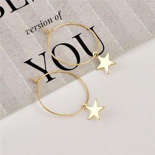Large Circle Star Hoop Earrings