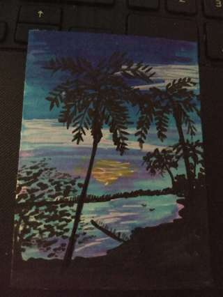 ACEO Original Palm trees drawing mini painting