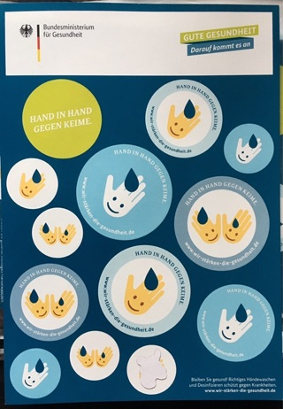 Large Hand Washing Against Germs Sticker Sheet for Kids from Germany