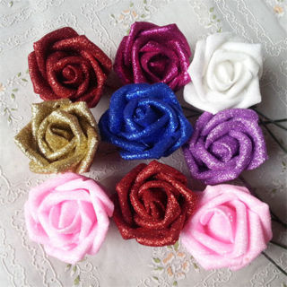 7 Foam Rose Artificial Flower Glitter Bridal Bouquet Home Wedding Decoration