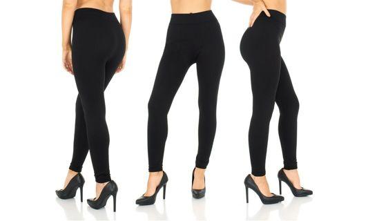Shosho Women's Black Light Fleece Lined Ankle Leggings L/XL Misses (10) One Size-NEW-Tags