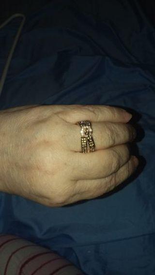 Women double belt ring size 8