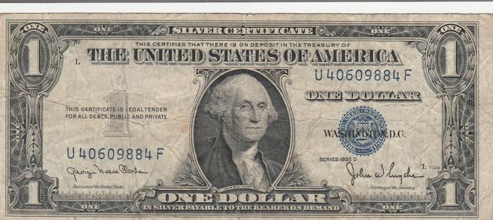 $1 Silver Certificate Series 1935 D